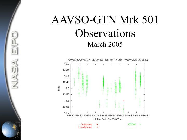 AAVSO-GTN Mrk 501 Observations