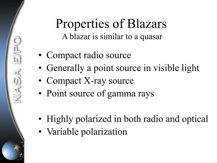 Properties of Blazars