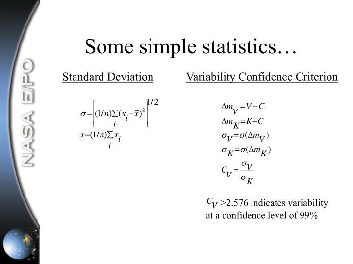 Some simple statistics…