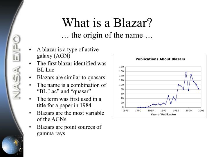 What is a blazar the origin of the name