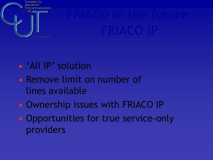 FRIACO in the future: FRIACO IP
