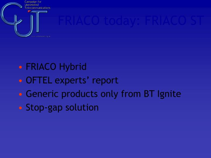 FRIACO today: FRIACO ST