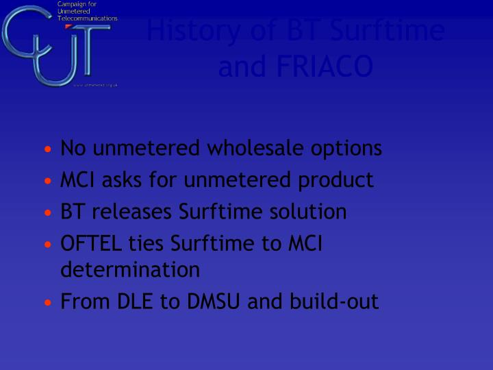 History of BT Surftime and FRIACO