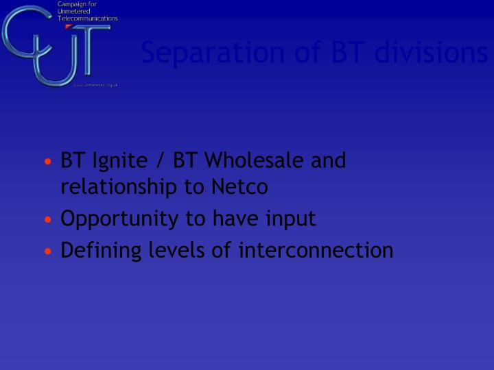 Separation of BT divisions