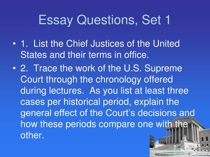 Essay Questions, Set 1