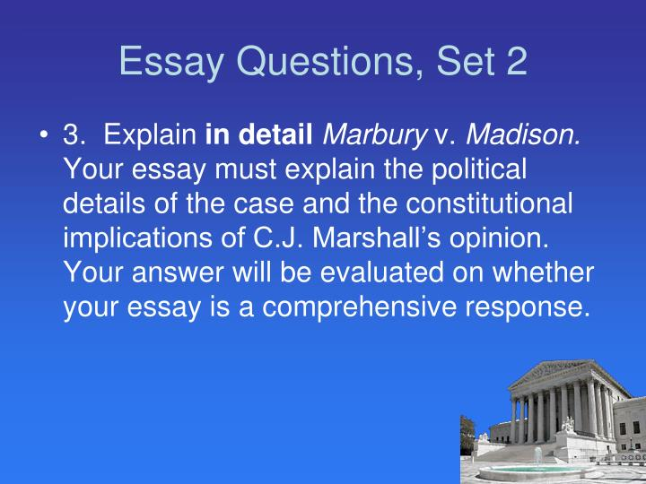Essay Questions, Set 2