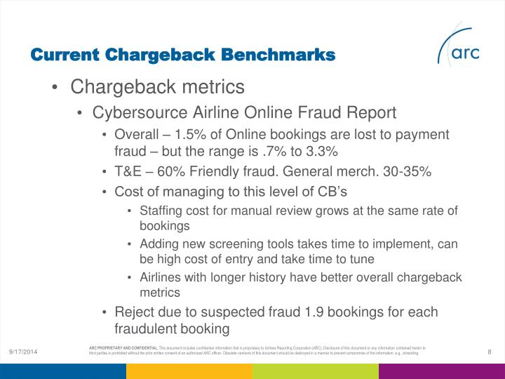 Current Chargeback Benchmarks