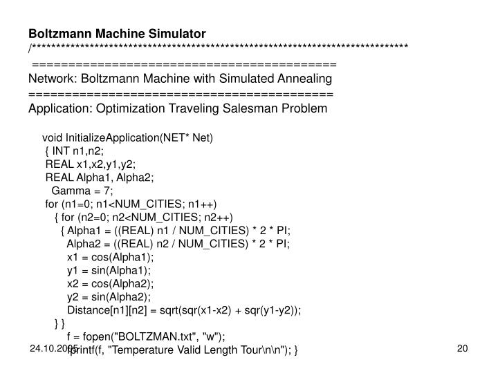 Boltzmann Machine Simulator