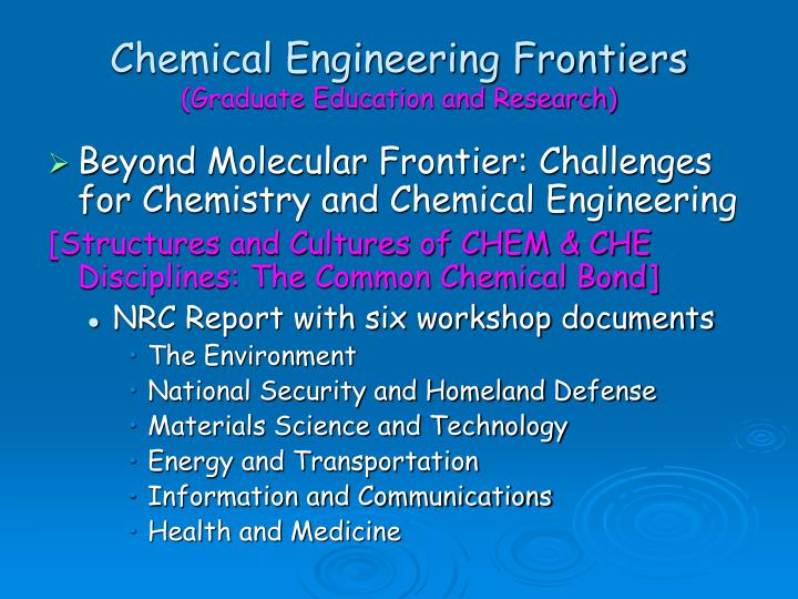 Chemical Engineering Frontiers
