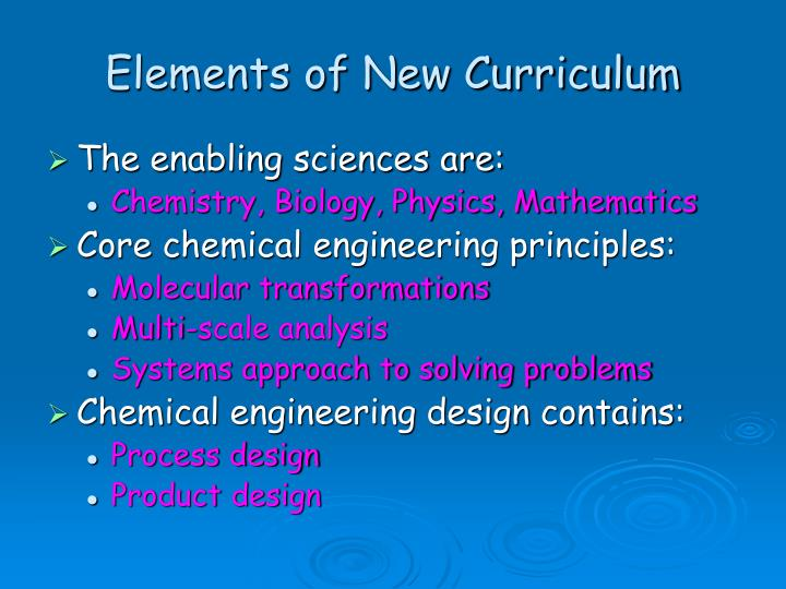 Elements of New Curriculum