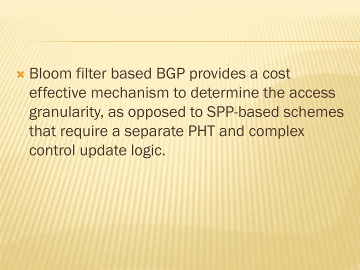 Bloom filter based BGP provides a cost effective mechanism to determine the access granularity, as opposed to SPP-based schemes that require a separate PHT and complex control update logic.