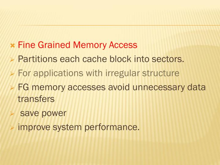 Fine Grained Memory Access