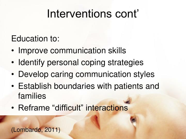 Interventions cont'