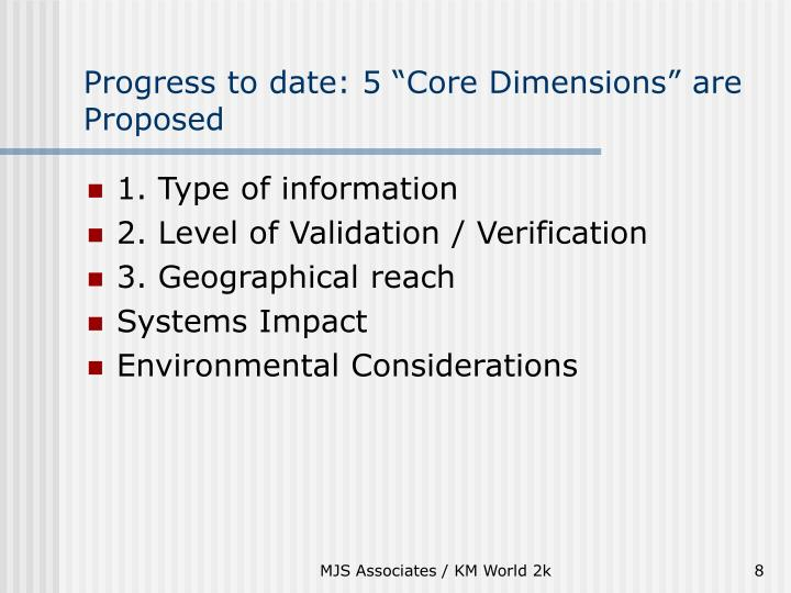 "Progress to date: 5 ""Core Dimensions"" are Proposed"