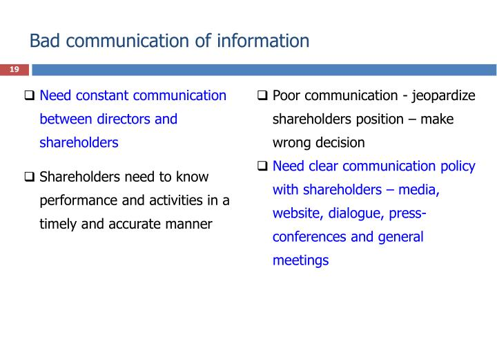 Bad communication of information