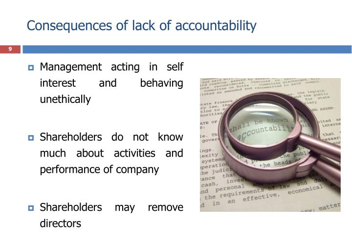 Consequences of lack of accountability