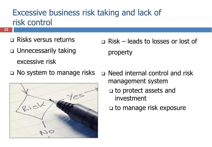 Excessive business risk taking and lack of