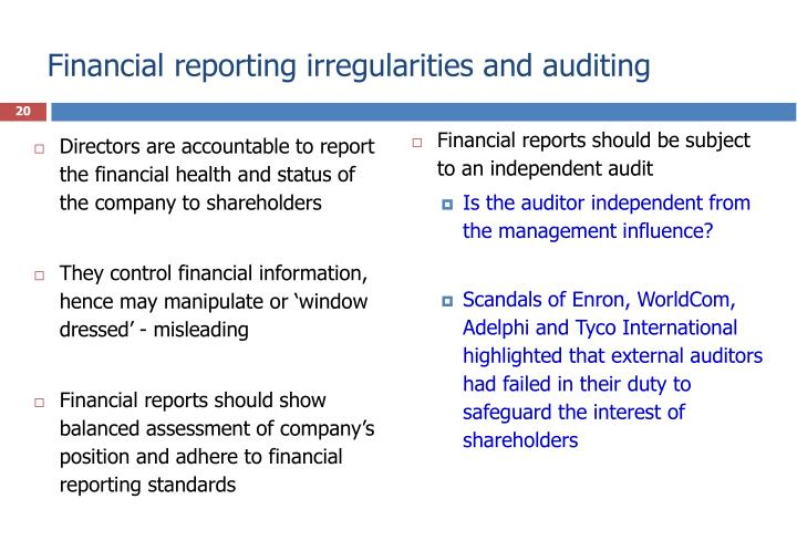 Financial reporting irregularities and auditing