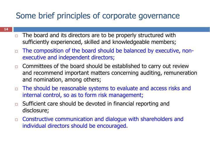 Some brief principles of corporate governance