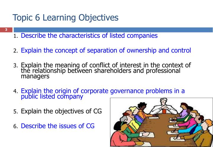 Topic 6 learning objectives
