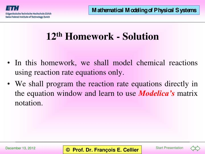 12 th homework solution