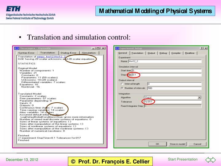 Translation and simulation control: