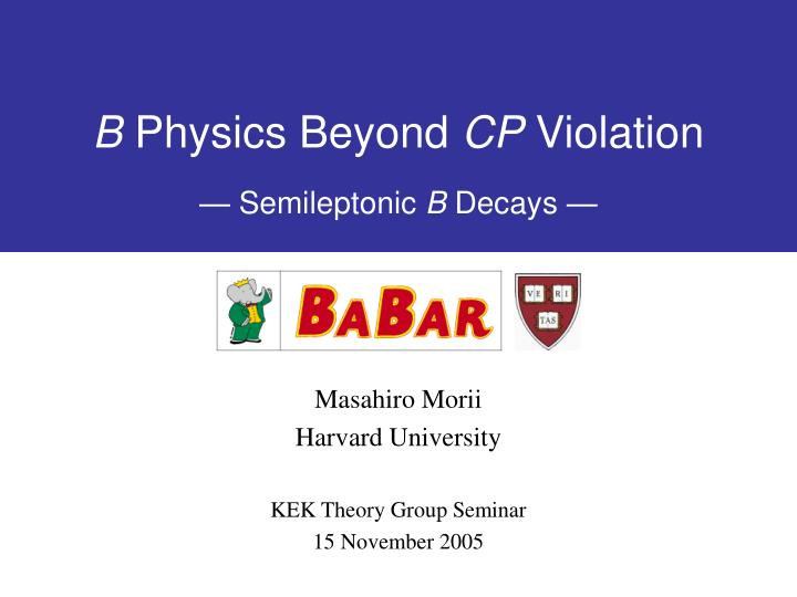 B physics beyond cp violation semileptonic b decays