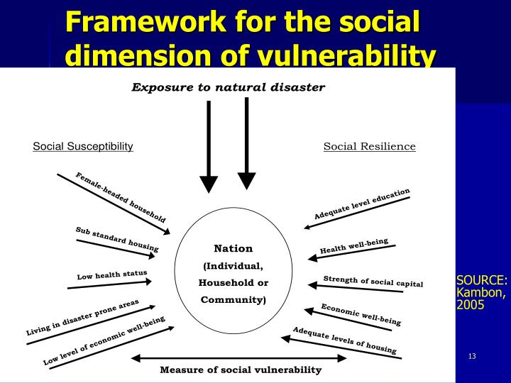 Framework for the social dimension of vulnerability