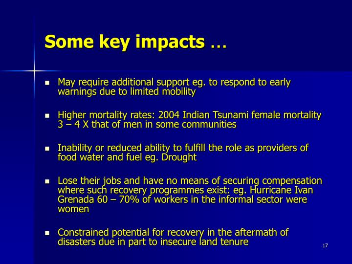 Some key impacts