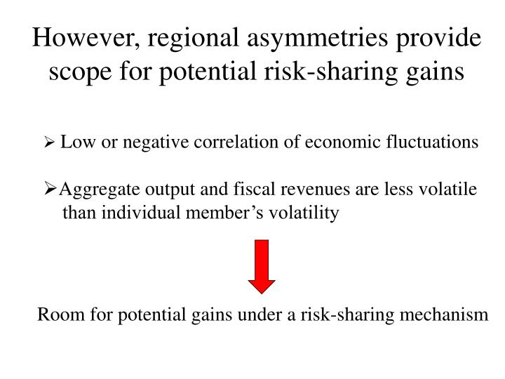 However, regional asymmetries provide scope for potential risk-sharing gains