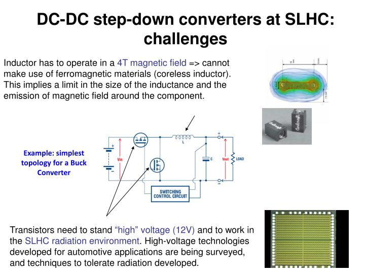 DC-DC step-down converters at SLHC: challenges