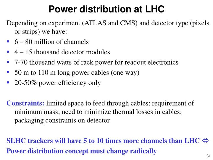 Power distribution at LHC