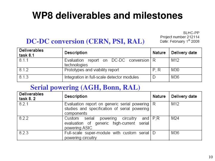 WP8 deliverables and milestones