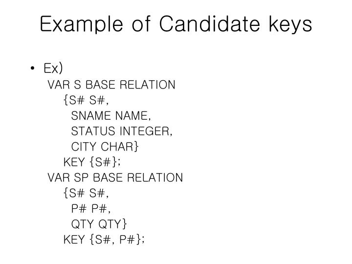 Example of Candidate keys