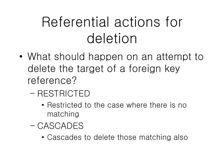 Referential actions for deletion