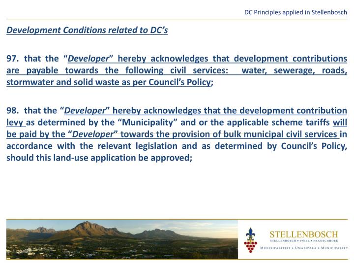 DC Principles applied in Stellenbosch