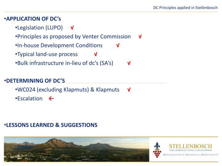 DC Principles applied in Stellenbosch