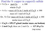 find the copper in copper i sulfide