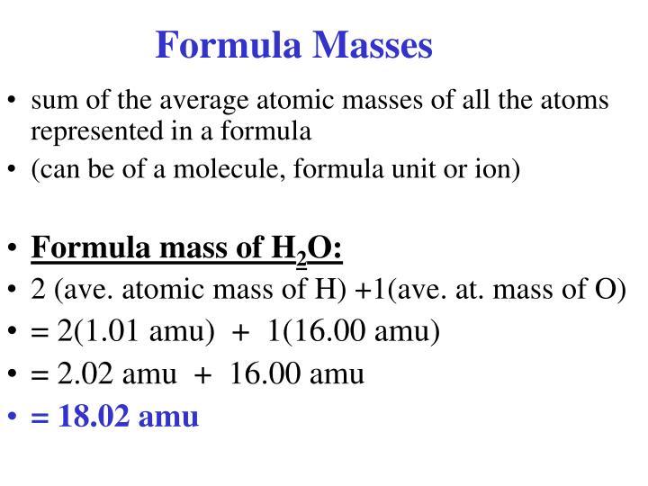 Formula Masses