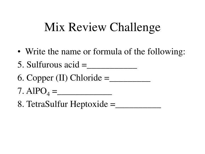 Mix Review Challenge