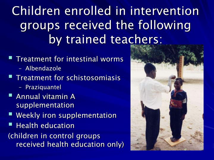 Children enrolled in intervention groups received the following by trained teachers: