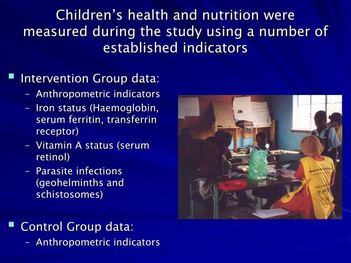 Intervention Group data: