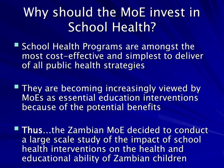 Why should the MoE invest in School Health?