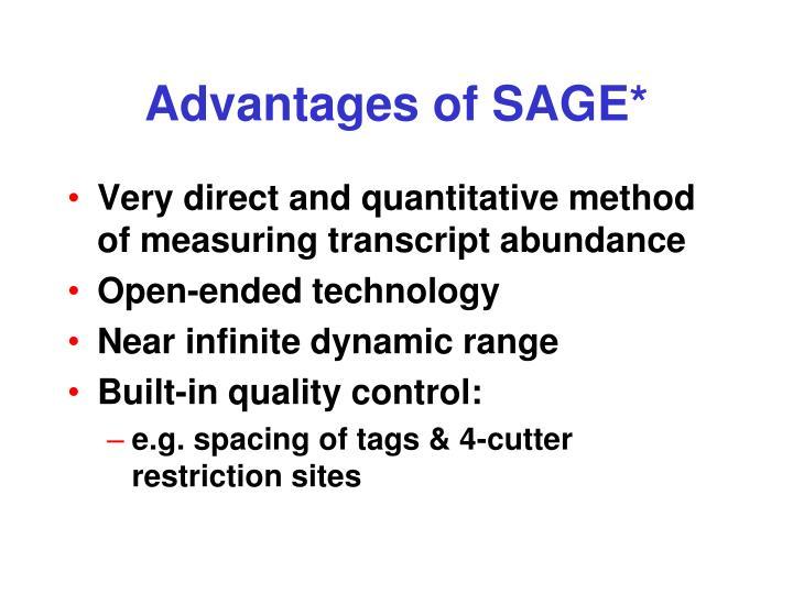 Advantages of SAGE*