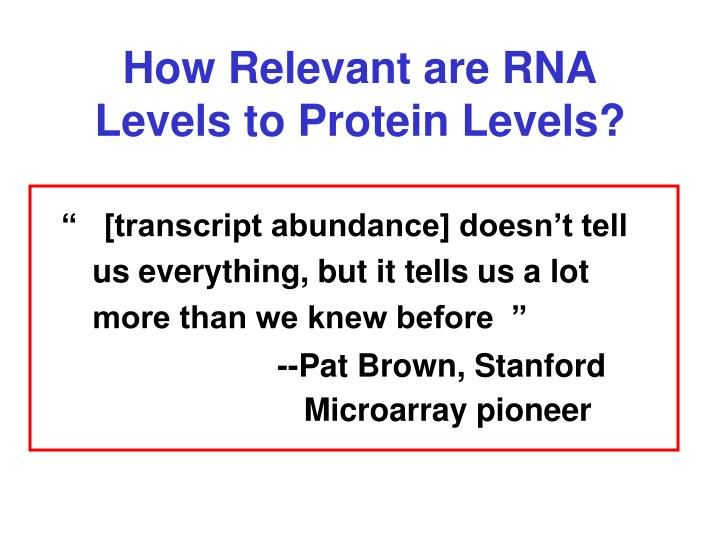 How Relevant are RNA Levels to Protein Levels?
