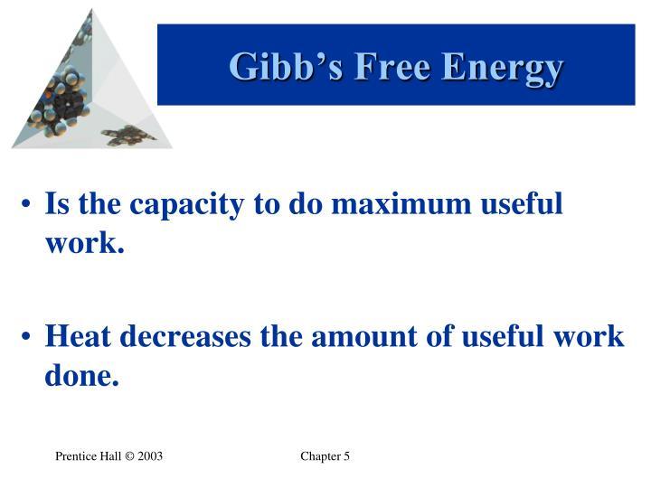 Gibb's Free Energy