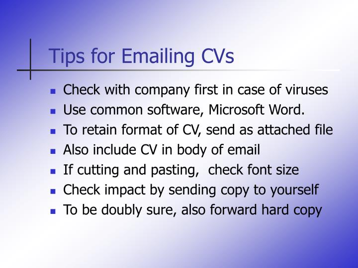 Tips for Emailing CVs