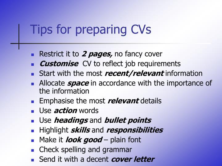 Tips for preparing CVs