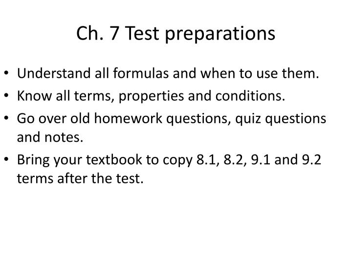 Ch. 7 Test preparations