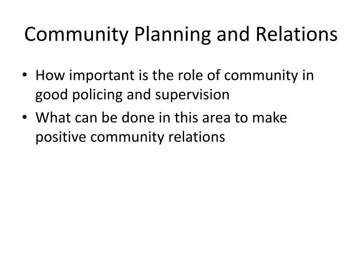 Community Planning and Relations